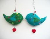 Felt Ornament Set Green and Teal Folk Art Bird with Red Pressed Glass Heart Handsewn 2 pcs