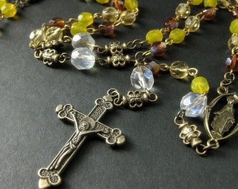 Catholic Rosary Czech Glass Rosary Autumn Colors of Amber Orange and Yellow Crystal Rosary Handmade Rosaries from Bits n Beads by Gilliauna