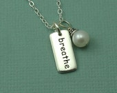 Breathe Pearl Charm Necklace - sterling silver breathe necklace - breathe jewelry - yoga necklace - yoga gifts