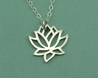 Lotus Flower Necklace - Sterling Silver Lotus Necklace, Lotus Jewelry, Yoga Jewelry, Lotus Pendant, Yoga Teacher Gift, Yoga Gifts, Zen