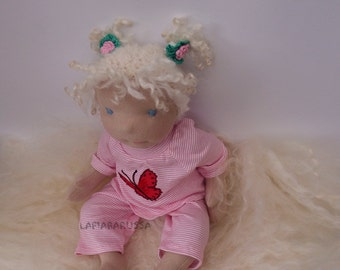 Waldorf cloth Newborn baby  doll Lilia 19 in, OOAK Doll, Handmade Doll, Waldorf Doll, Art Doll, Collectible Doll, Soft Doll Baby Doll