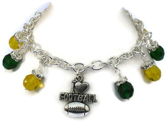Green Bay Packers Inspired Charm Bracelet, Football Jewelry, Gifts for Women Mom Wife Sister Daughter Grandma Teacher Under 30