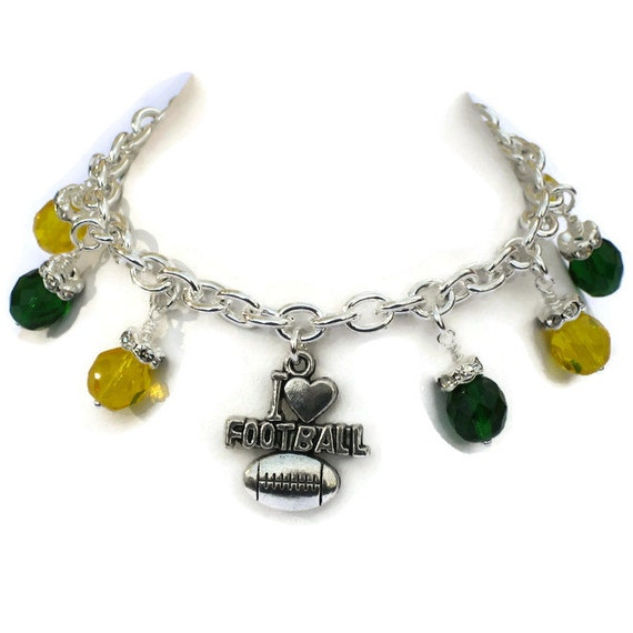 green bay packers inspired charm bracelet football jewelry