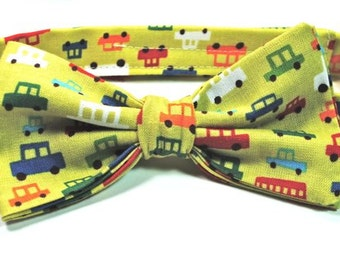Boys Car Bow Tie, Car Bow Tie, Infant Bow Tie, Green Bow Tie, Boys Bow Ties