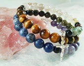 Gemstone Rosary, Memory Wire Bracelet, Therapeutic Gemstones