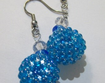 vintage blue bumpy ball drop and dangle pierced earrings 14IN