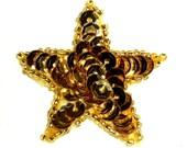 """JB71 Gold Applique Star Sequin Beaded  1.5""""  (JB71-gl)"""