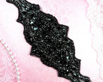 "JB174 Black Jewel Beaded Rhinestone Applique Sash 10"" (JB174-bk)"