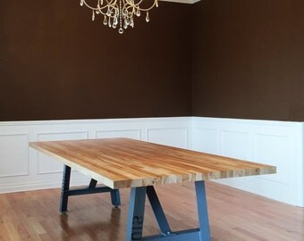 12' Industrial dining table Butcher block top