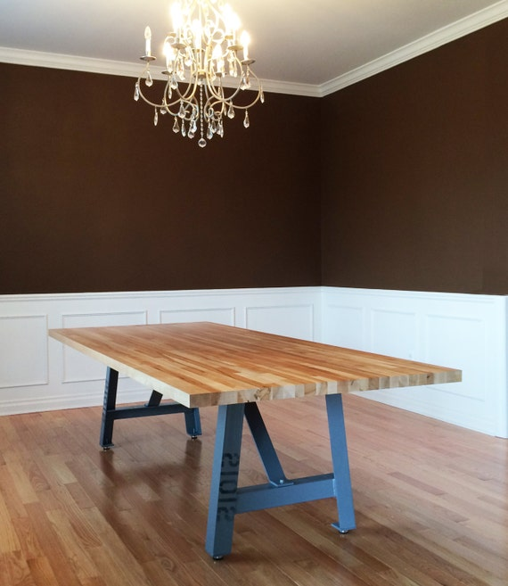 Butcher Block Dining Room Table: 12' Industrial Dining Table Butcher Block Top