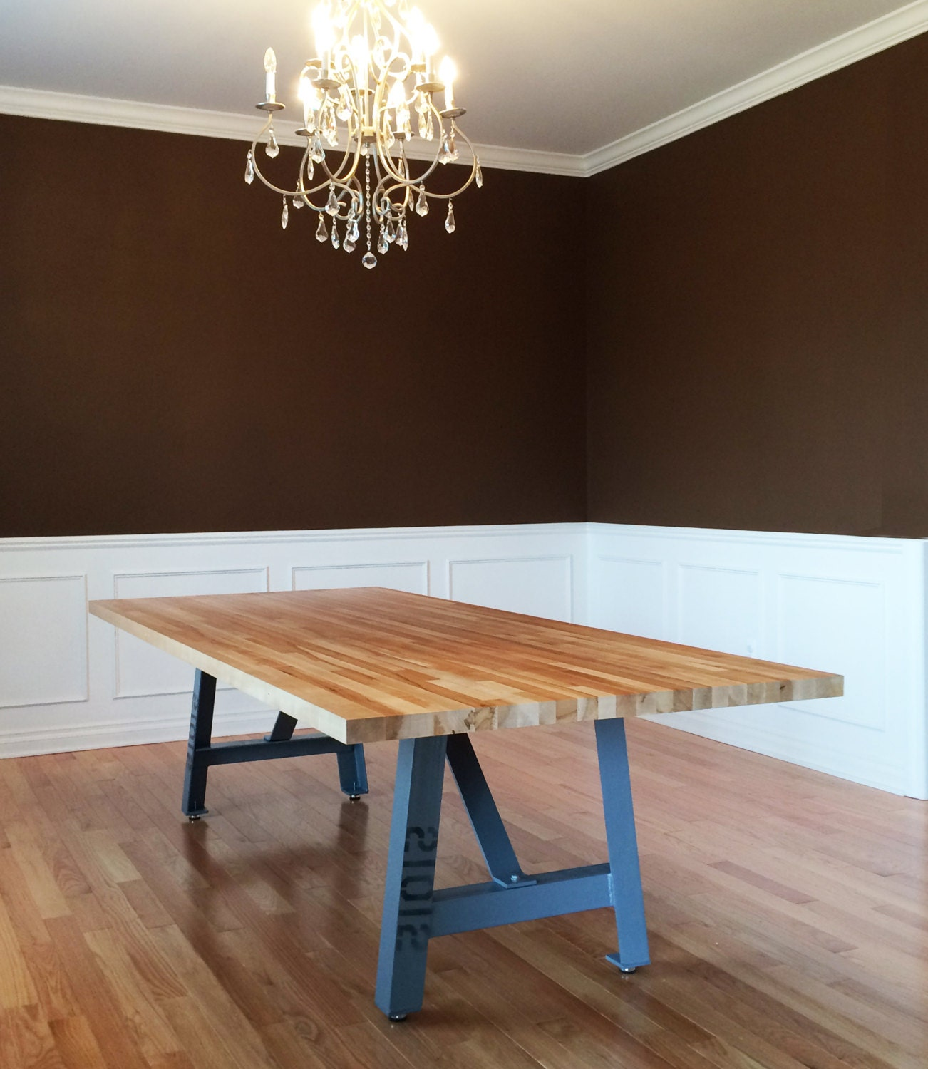 12 39 industrial dining table butcher block top