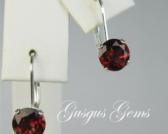 Garnet Leverbacks/Garnet Earrings/Garnet Drops/Garnet Dangles/Garnet 6mm/Garnet Silver/Natural Untreated