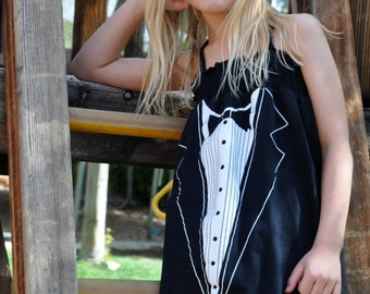 The TUXEDO UPCycled T Shirt Dress One Size Fits 2T - 6 Original Design