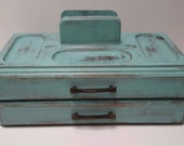 Aqua blue vintage jewelry box vintage wooden valet box shabby chic style