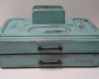 Aqua blue vintage jewelry box vintage wooden valet box shabby chic style