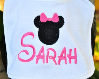 EMBROIDERED Disney BABY BIB with Name.  I also have mickey ears...Disney font, so your little one will be called by name by the Disney staff