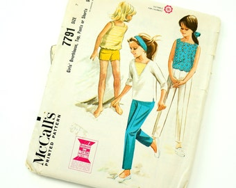 Vintage 1960s Girls Size 7 Overblouse, Top, Pants or Shorts McCalls Sewing Pattern 7791 / chest 25 waist 22.5 / Complete