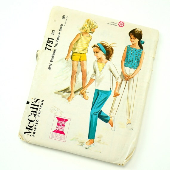 Vintage 1960s Girls Size 7 Overblouse, Top, Pants or Shorts McCalls Sewing Pattern 7791 Complete / chest 25 waist 22.5