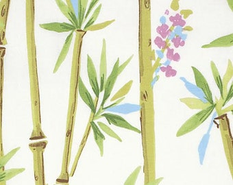 Chinoiserie Chic Fabric by Dena Designs 195 Luli Bamboo Plants and Floral Flowers on White