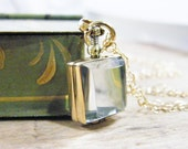 gold glass locket small square photo locket, heirloom keepsake remembrance locket necklace gold finish