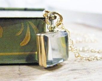 gold glass locket small square photo locket, heirloom keepsake remembrance locket necklace gold finish