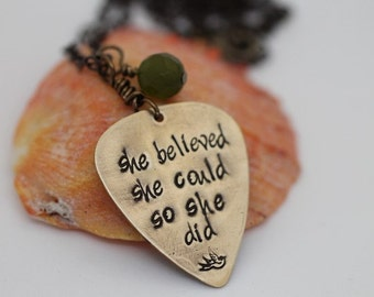 graduation gift idea  - encouragement present for girl  - she believed she could necklace - jewelry for friend