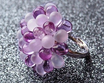 Lilac Bloom Berry Ring - Cluster Ring, Limited Edition - Light Purple and Frosted Cocktail Glass Ring - White & Pastel Purple Statement Ring