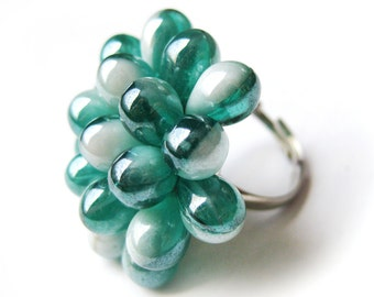 Teal & Pearl Berry Ring, Aquamarine Glass Cluster Ring, Aqua Opal ring, Statement ring, Turquoise Pearl Cocktail Ring, Ready to ship, Gift