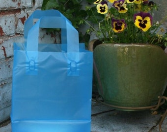 31 BLUE Plastic Shopping Bags Frosty Retail Merchandise Gift 8 x 5 x 10