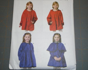 Butterick 5809 Girls Coat with Detachable Hood and Capelet Sizes 6 7 8