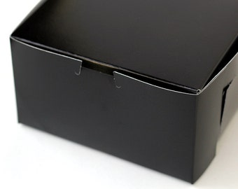 Gloss Black Pastry Boxes / Bakery Boxes - 7x7x4 inches (5)