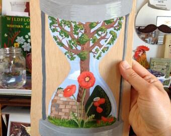 SALE -- Small original painting: hourglass - the relative longevity of various plants