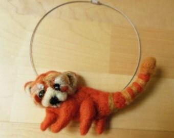 felt red panda statement necklace, bib necklace, eco friendly, yarn, strand necklace