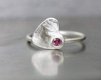 Spinning Heart Ring Pink Tourmaline Silver Valentine's Day Gift for Her Romantic Love Modern Design - Schwindelgefühl