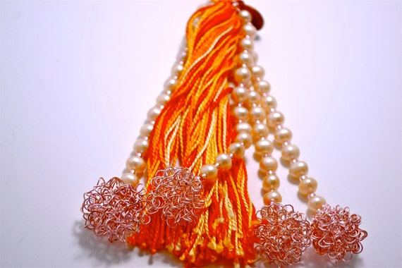 Hanging Wall Art: Orange Beaded Tassel with Pink Freshwater Pearls and Pink Wire Clusters