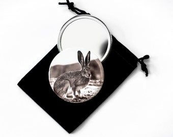 "Vintage Jack Rabbit - Vintage Photograph Reproduction from 1920's   - Pocket Mirror - 2.25"" with Velvet Pouch"