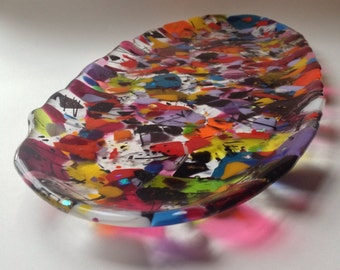 Fused Glass Tray French Bread Plate large