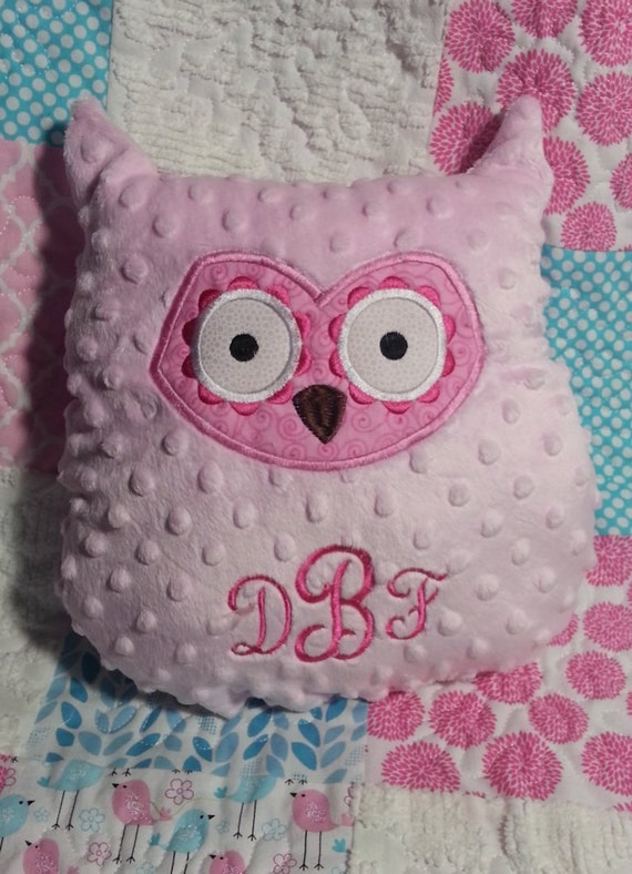 Owl Throw Pillow Etsy : Personalized Owl Minky Throw Pillow