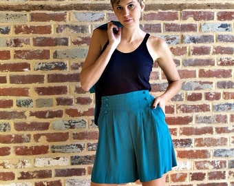 Vintage Hipster Teal 1990s High Waisted Shorts and Cropped Jacket Suit