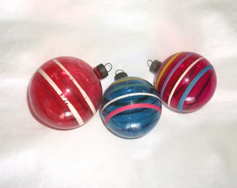 Vintage Unsilvered WWII era Stripe Glass Ornaments • 3 count