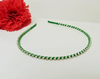 Irish Shamrock Green Satin Ribbon Enhanced Rhinestone Bridal Headband for Bridesmaid, Prom, Flower Girl or Wedding Party