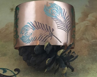Copper Etched Colorful Feather Cuff Bracelet