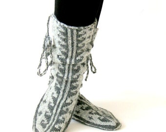 Wool Slippers, Grey to Gray, Comfy Slippers, Handknitted Slippers, Leg Warmers, Mukluk