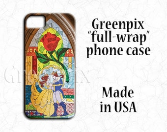 Disney Beauty and the Beast wedding iPhone 7 case, 4 4S 5 5S 5C 6 6S Plus, Galaxy S5 S6 S7, red rose Belle, stained glass mosaic greenpix