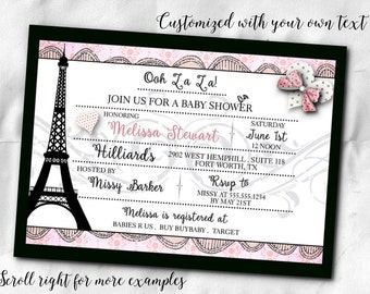 French Themed Party Invitations, Invite with Envelope, Bridal Shower, Baby Shower, Birthday Party, Eiffel Tower, Pink and Black