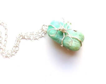 Amazonite pendant necklace-wire wrapped amazonite-gift and bow amazonite pendant-sterling silver wire wrapped-boho style