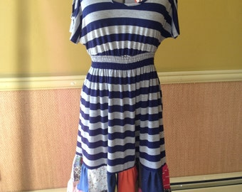 Harry and The Hippe Chic One of A Kind Bohemian Stripe Patchwork Open Shoulder Dress