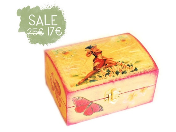Hawaii Jewelry Box - Decoupaged Yellow and magenta Wooden Box