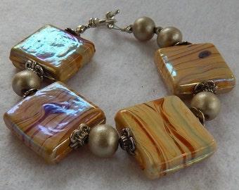 Mocha Art Glass Square Beaded Bracelet Jewelry Handmade Beaded NEW Women