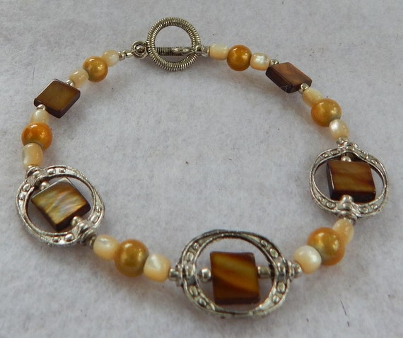 Silver, Brown and Gold Bead Frame Bracelet Handmade Jewelry Women Accessories Fashion